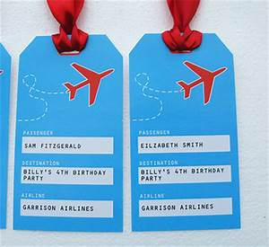 airplane printable birthday invitation and complete party With airline luggage tag template