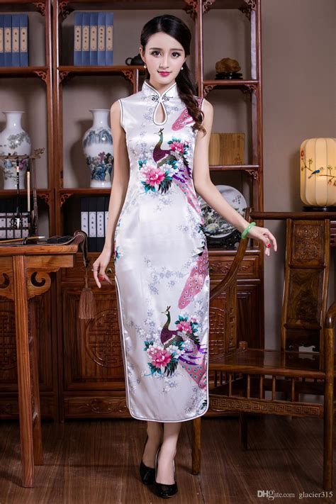 Shanghai Story New Arrival Faux Silk Long Cheongsam Dress ...
