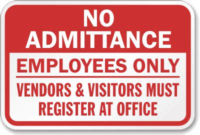 All Visitors Must Sign In Template by Employees Only Signs For Outdoors