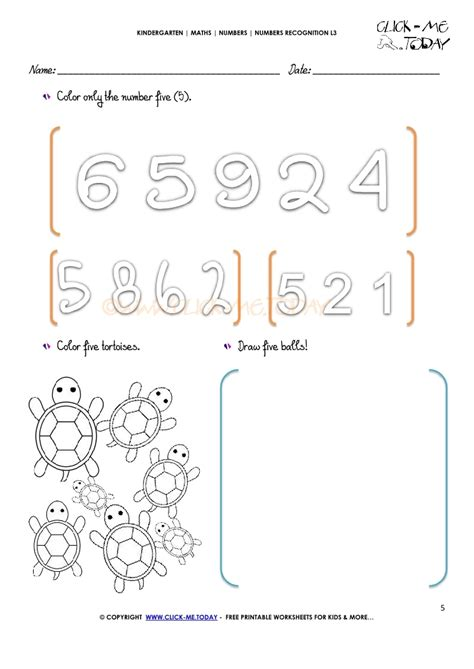 numbers recognition worksheets l3 5