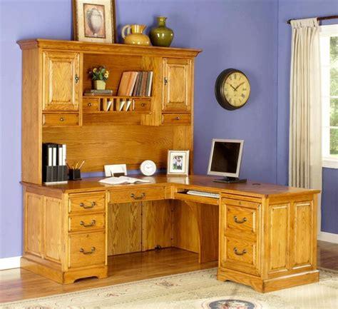 oak l shaped desk l shape return desk w executive hutch set in golden oak
