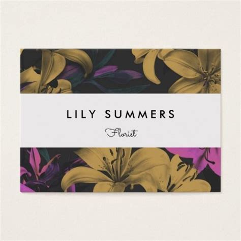 modern floral lilies business card customize