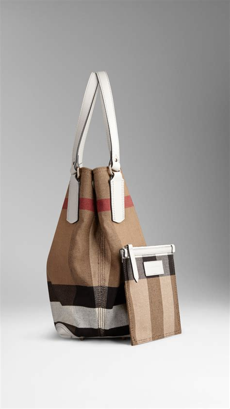 lyst burberry medium canvas check tote bag  white
