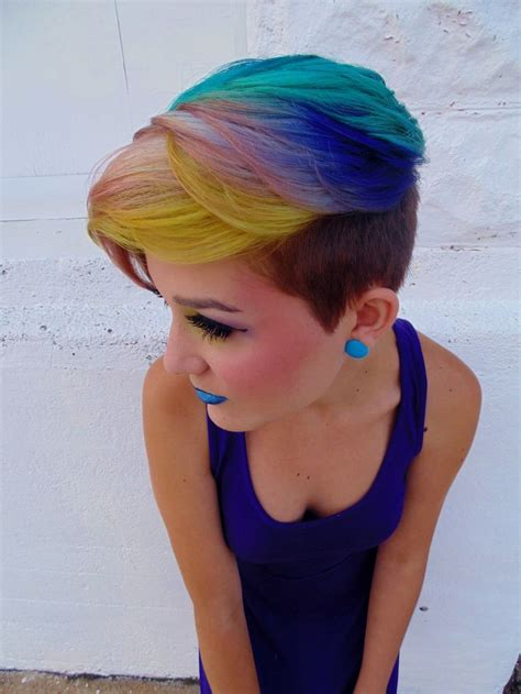 Beautiful Gradual Dye Rainbow Fade I Love The Side Shave