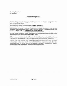 Worksheet  Orbital Filling Rules