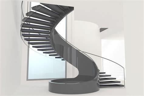 open one house plans curved staircase and stairs a spiral in form and style