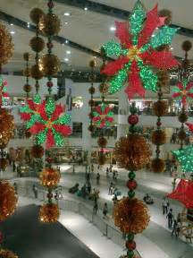 scant christmas decorations in shopping malls before the eastern sunset
