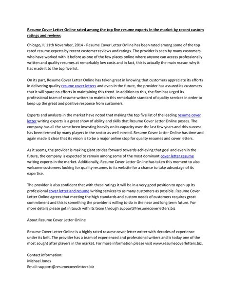 Resume Experts by Resume Cover Letter Among The Top Five Resume