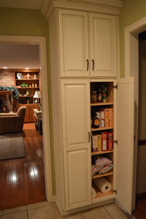 F White Wooden Tall Narrow Pantry Cabinet With Maple Wood