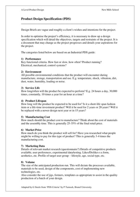 Help Sheet for writing a Product Design Spec by designer