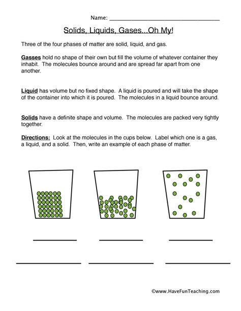 states of matter worksheet solid liquid and gas