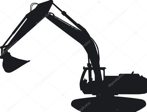 tracked excavator   silhouette stock vector  yvendienst