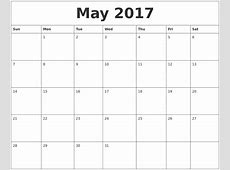 May 2017 Calendar Word weekly calendar template