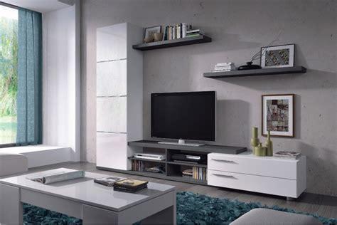 mueble de salon tv adhara en color blanco  gris ceniza al