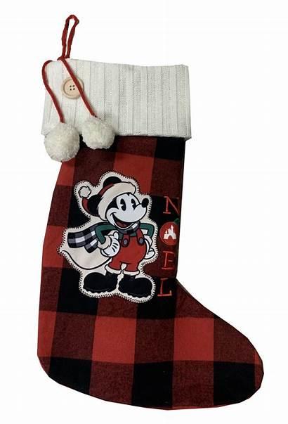 Christmas Disney Stocking Mickey Mouse Farmhouse Plaid