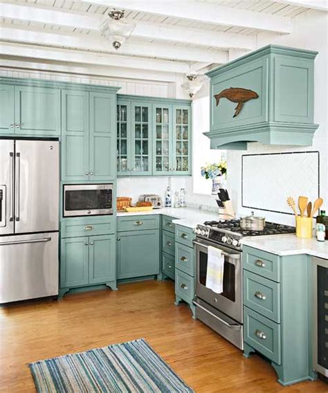 Teal Kitchen Cabinets With Glass Fronts, Marble