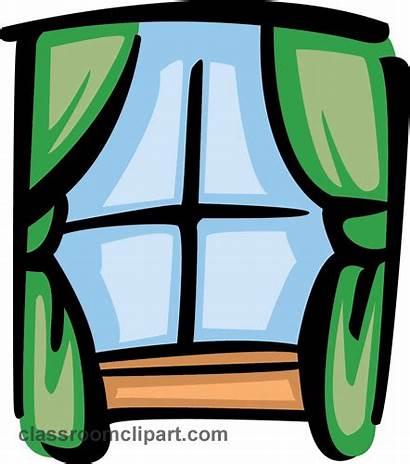 Curtain Window Clipart Classroom Curtains Windows Rod