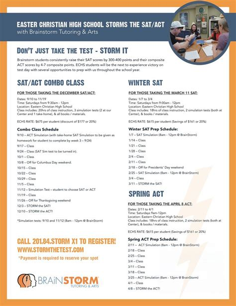 act sat prep classes eastern christian school