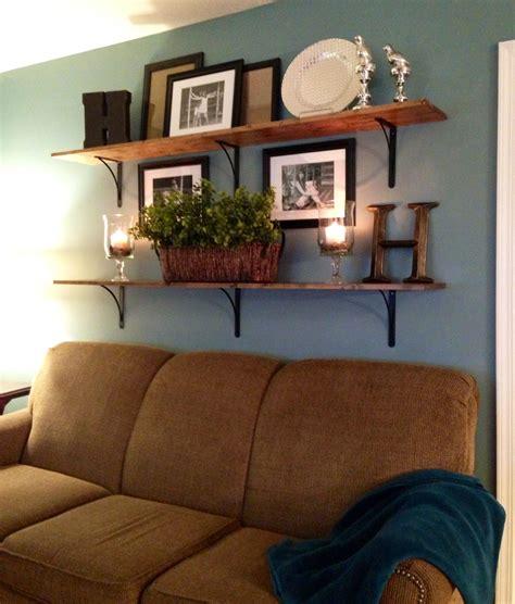 shelves  sofa living room decor rustic couch decor