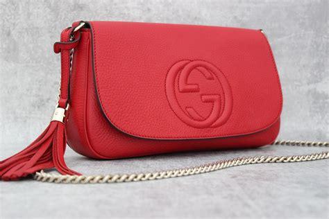 gucci red soho leather chain shoulder bag  jills