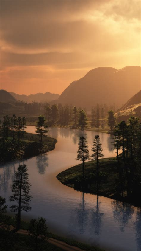 wallpaper forest mountains sunset river hd nature