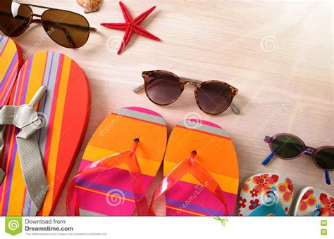 Sunglasses And Flipflops Family Beach Top View Stock