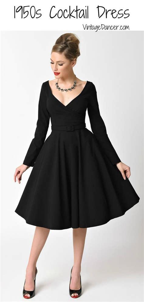 Wst 20221 Black Swan V Neck Dress 1950s cocktail dresses dresses 1950s black and