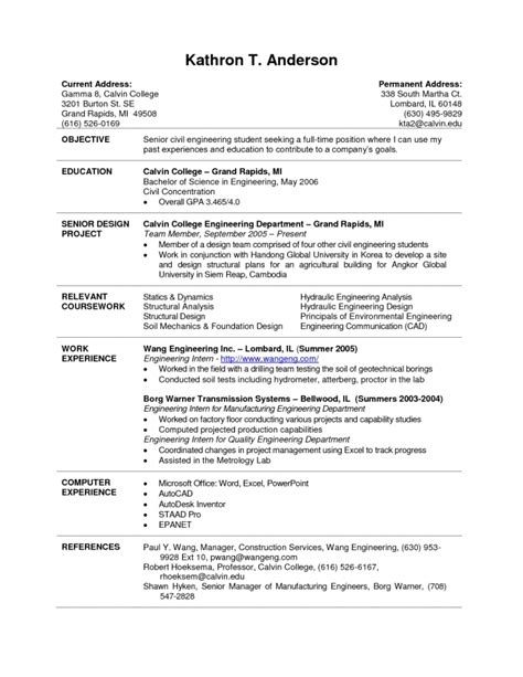 internship resume sle resume name intern resume sle chemical engineering internship