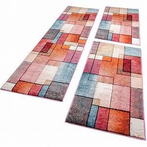 Tapis De Couloir : tour de lit tapis de couloir moderne turquoise gris rose rouge orange 3 pi ces tapis ~ Teatrodelosmanantiales.com Idées de Décoration