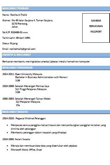 contoh resume lengkap  terbaik resume job resume