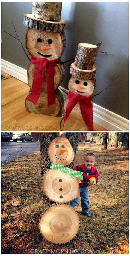 wood log snowmen decorations  christmas  winter time