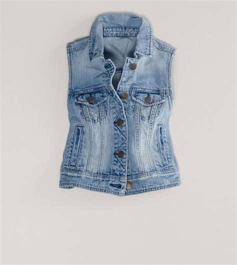 nwt eagle cropped denim jean vest jacket light