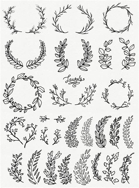 clip art whimsical laurels wreaths photoshop brushes
