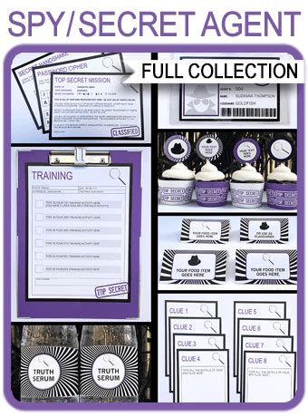 secret agent party printables invitations decorations spy