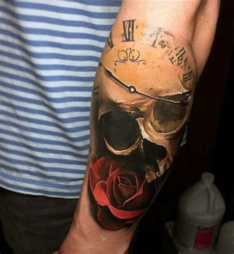 clock tattoo designs  men timeless ink ideas