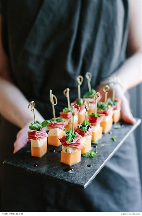 cocktail canapes ideas melon blue cheese prosciutto basil canapés wedding