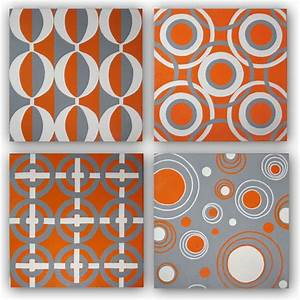 Hand painted original orange gray canvas wall art set