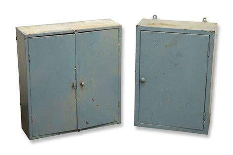 metal wall cabinets pair of blue metal wall cabinets olde things