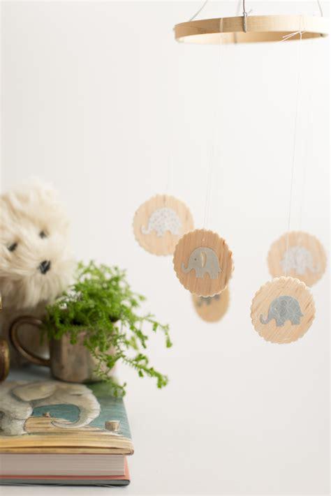 diy wood baby mobile  elephants flax twine