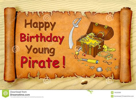 happy birthday young pirate card royalty  stock images