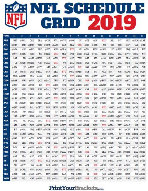 nfl full season schedule grid  printable