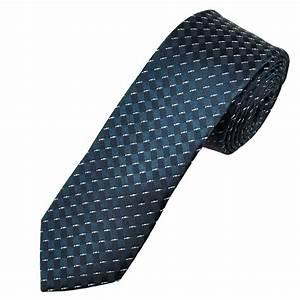 Navy & Ivory Patterned Men's Skinny Tie