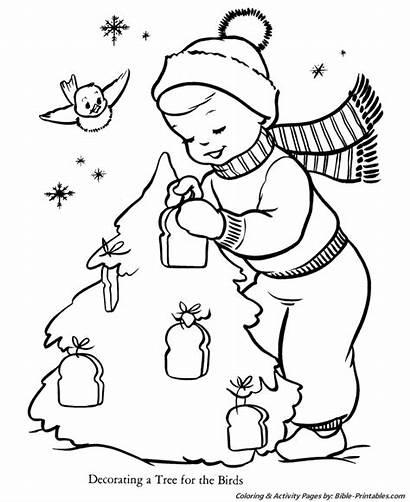 Coloring Christmas Pages Santa Tree Birds Printables