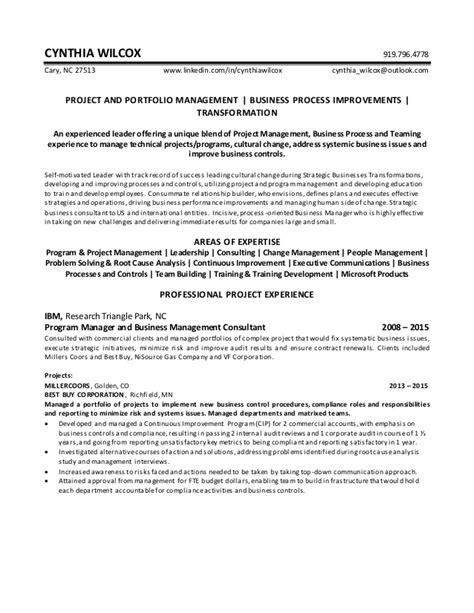 cynthia wilcox resume project portfolio manager
