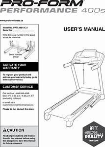 Proform Pftl49613c0 Performance 400 S Treadmill Users Manual