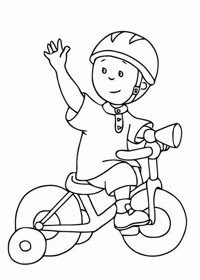 Coloring Caillou Pages Bike Bicycle Printable Drawing
