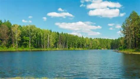 full hd timelapse bellissimo lago foresta  cielo blu al