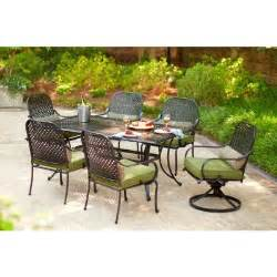 hton bay fall river 7 piece patio dining set with moss
