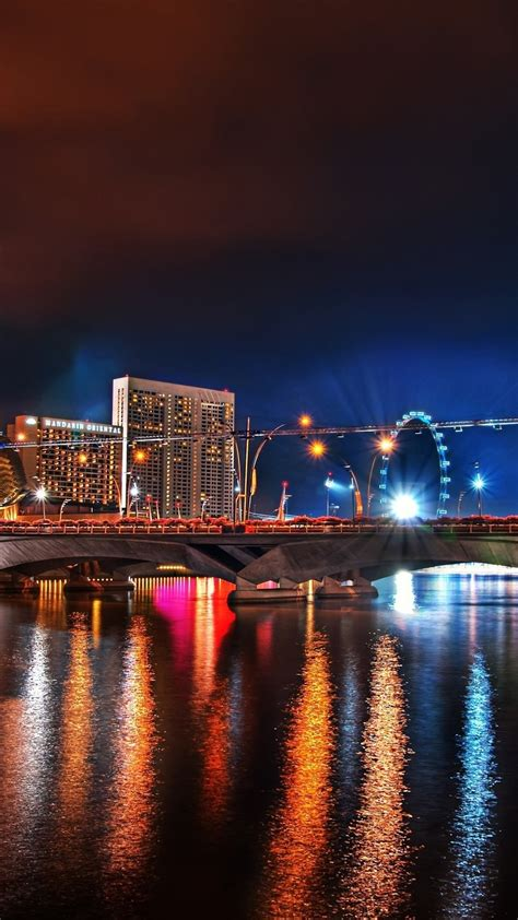 wallpaper city night bridge river illumination