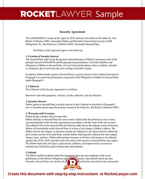 Security Contracts Templates Security Agreement 7 Free Pdf Doc